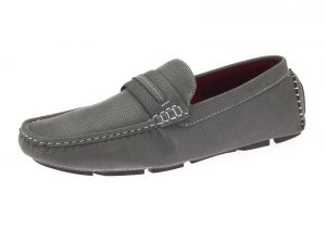 Grey Slip-on Loafer Designer Faux Leather Driving Shoe