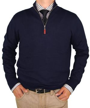Mens Classic Fit Quarter Zip Mock Neck Sweater Cotton Cashmere Touch Navy by Luciano Natazzi