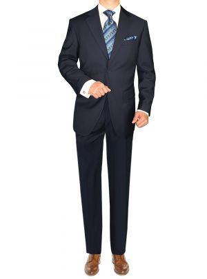 Modern 2 Button Jacket Flat Front Pants Piece Set Navy by Giorgio Napoli