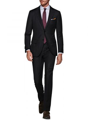 Two Button 160s Canali Cashmere Wool Black by Luciano Natazzi