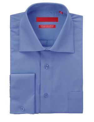 Mens GV Executive Dress Shirt Pure Cotton Spread Collar French Cuff Blue by DTI DARYA TRADING