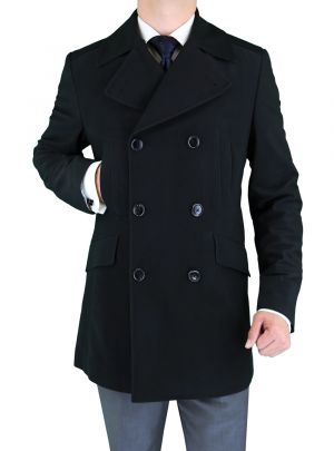 Mens Stretch Wool Blend Trim Fit Pea Coat Black by Luciano Natazzi