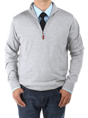 Mens Mock Neck Zipped Sweater Relaxed Fit Light Gray by Luciano Natazzi