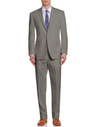 BB Signature Men's Modern Fit Two Button Italian Linen 2 Piece Suit Light Olive by DTI