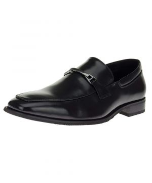 Mens DTI Leather Shoes Designer Slip-on Fashion Clever Loafers Z2093 Black by Darya Trading