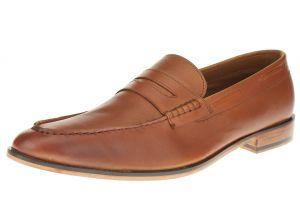 Tan Burnish Slip-on Penny Comfort Full Grain Leather Dress Shoes SL308