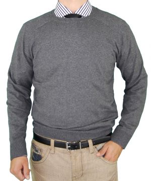 Mens Crew Neck Cotton Sweater Cashmere Touch Slim Fit Charcoal by Luciano Natazzi
