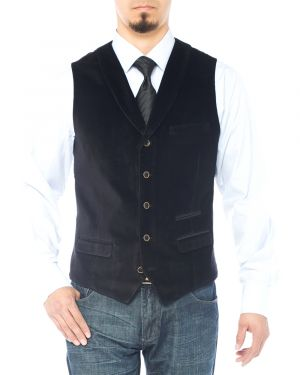 Mens Shawl Lapel Velvet Waistcoat Modern Fit Dress Suit Vest Black by Luciano Natazzi