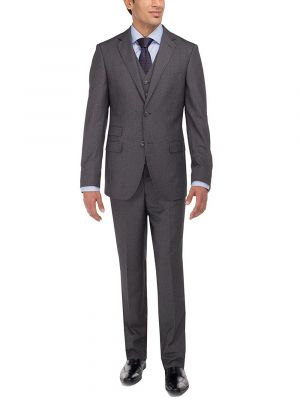 Two Button Tweed 3 Piece Modern Fit Vested Charcoal by Luciano Natazzi