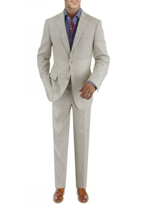 BB Signature Men's Modern Fit Italian Linen 2 Button Suit Oatmeal by DTI