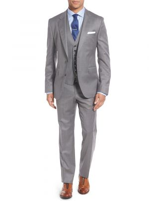 Vested Three Piece Blazer Jacket Dress Vest Plus Pant Modern Fit Gray by Salvatore Exte