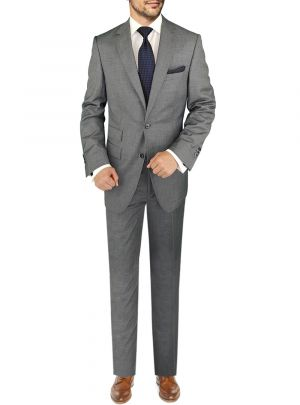 Modern Fit BB Signature Italian Wool Two Button 2 Piece Ticket Pocket Jacket Grey by DTI DARYA TRADING