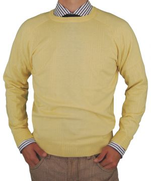 Mens Crew Neck Cotton Sweater Cashmere Touch Slim Fit Sunlight by Luciano Natazzi