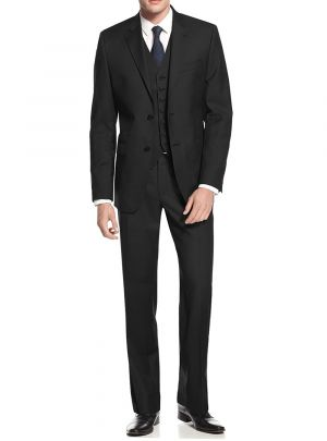 2 Button Avant Garde Modern Fit Vested Black by Salvatore Exte