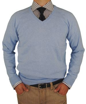 Mens V-neck Cotton Sweater Cashmere Touch Slim Fit Light Blue by Luciano Natazzi