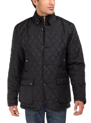 Mens Quilted Puffer Jacket With Double Knit Collar Black by Luciano Natazzi