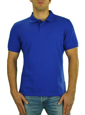 Mens T Jeans Modern Fit Button Down Pique Polo Sport Shirt Royal Blue by Darya Trading