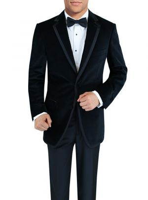 Mens Two Button Side-Vent Velvet Tuxedo Black by DTI Signature