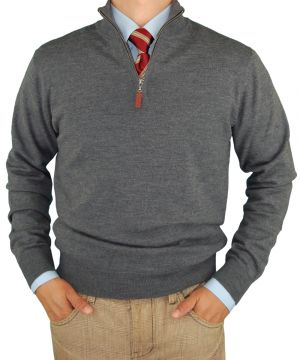 Mens Merino Wool Quarter Zip Mock Neck Sweater Trim Fit Charcoal by Luciano Natazzi