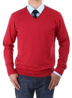 Mens V-neck Cotton Sweater Relaxed Fit Dark Red by Luciano Natazzi