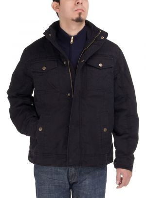Mens Light Weight Cotton Lightly Thermal Padded Jacket Black by Luciano Natazzi