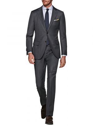 Two Button 160s Canali Cashmere Wool Charcoal Gray by Luciano Natazzi