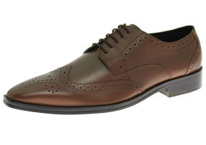 Mens Handmade Leather Shoe Gabbana Rosato Wingtip Oxford Cognac Brown by Luciano Natazzi