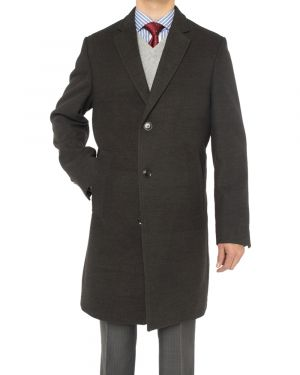 Mens Trend Fit Overcoat Wool Blend Stretch Topcoat Charcoal Gray by Luciano Natazzi