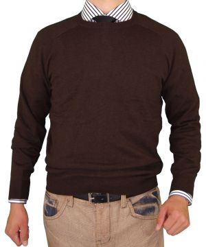 Mens Crew Neck Cotton Sweater Cashmere Touch Slim Fit Chocolate by Luciano Natazzi