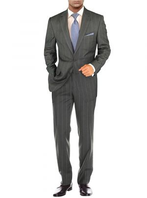 Modern Two Button 2 Piece Striped Gray by Salvatore Exte