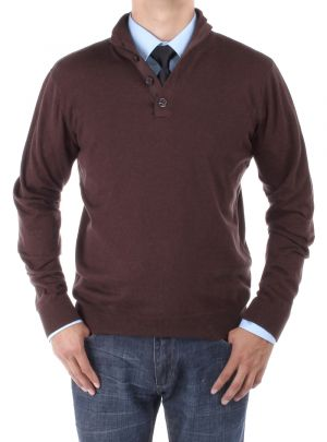 Mens Mock Neck Elbow Patch 14 Button Sweater Relaxed Fit Chocolate by Luciano Natazzi