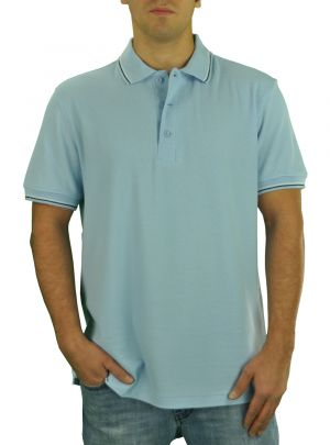 Mens DTI Pique Polo Sport Shirt Solid Short Sleeve Cotton Royal Classic Fit Baby Blue by Darya Trading
