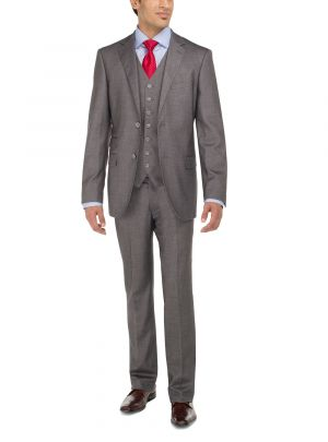 Two Button Birds Eye 3 Piece Modern Fit Vested Gray by Luciano Natazzi