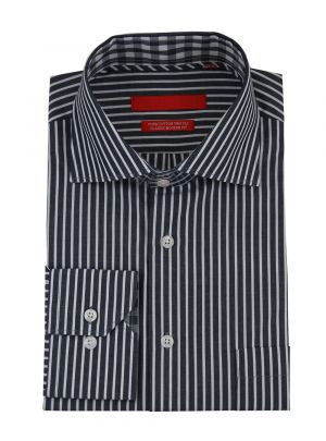 Mens GV Executive Striped Dress Shirt Cotton Spread Collar Barrel Cuff Black White by DTI DARYA TRADING