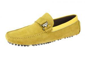 Mens Suede Leather Driving Shoe Michael Slip-on Loafer Yellow by Salvatore Exte