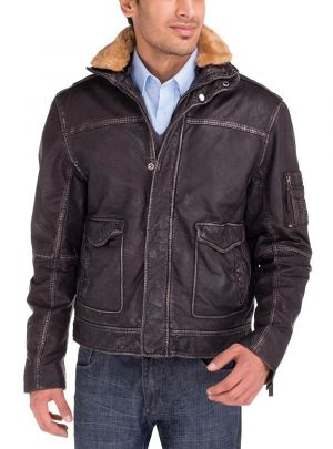 Mens Buff Rub Heritage Flight Leather Jacket Brown by Luciano Natazzi