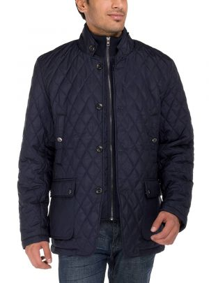 Mens Quilted Puffer Jacket With Double Knit Collar Dark Navy by Luciano Natazzi