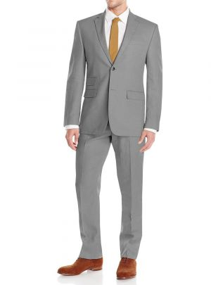GV Executive Men's Modern Fit Linen 2 Button Summer Wedding Suit Gray by DTI