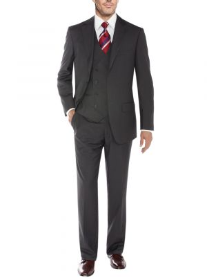 Vested Three Piece Blazer Jacket Dress Vest Plus Pant Db Charcoal by Salvatore Exte