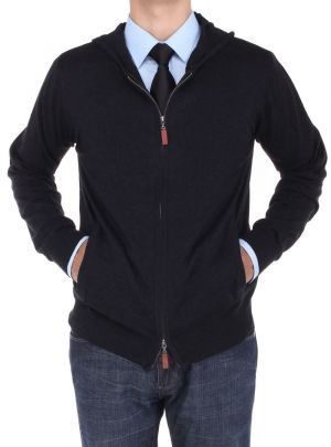 Mens Front Zip Hoodie Sweater Relaxed Fit Black by Luciano Natazzi