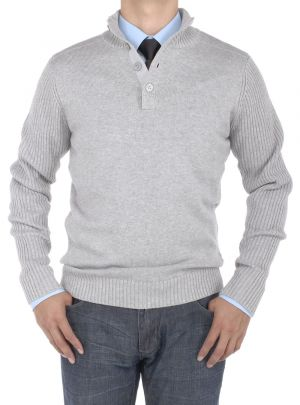 Mens Mock Neck Ribbed Sleeve Buttoned Sweater Relaxed Fit Light Gray by Luciano Natazzi