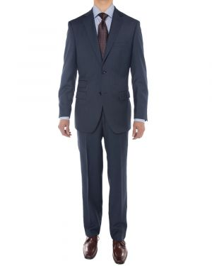 Sharkskin 160S Wool Two Button Jacket 2 Piece French Blue by Luciano Natazzi