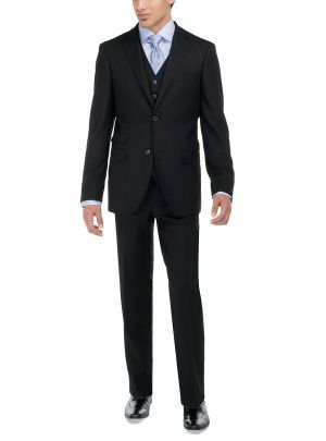 Two Button Birds Eye 3 Piece Modern Fit Vested Black by Luciano Natazzi