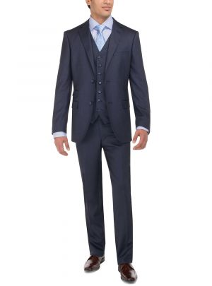 Two Button Tweed 3 Piece Modern Fit Vested Navy by Luciano Natazzi