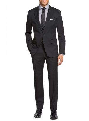 Two Button Side Vent Jacket Flat Front Pants Black by Salvatore Exte