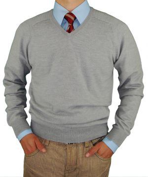 Mens V-neck Merino Wool Sweater Soft Like Cashmere Trim Fit Light Gray by Luciano Natazzi