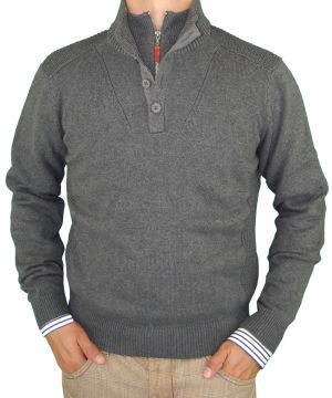 Mens Fashion Double Mock Neck Button Zip Sweater Cotton Slim Fit Charcoal by Luciano Natazzi