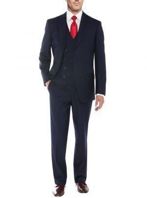 Vested 2 Button 3 Piece Blazer Vest Flat Front Pants Navy by Salvatore Exte