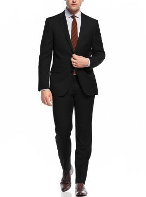 Two Button Slim Fit Working Holes Black stripe by Nicoletti