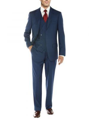 Vested Three Piece Blazer Jacket Dress Vest Plus Pant Db Blue by Salvatore Exte